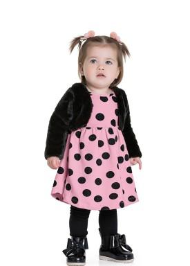vestido bolero bebe feminino bolinhas rosa fakini 1000 1