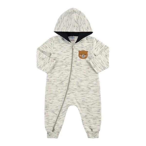macacao moletom capuz bebe masculino urso mescla marlan 20440