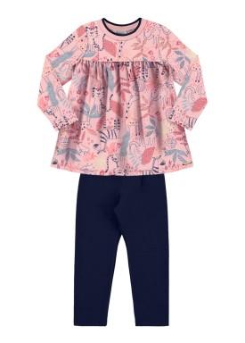 conjunto manga longa infantil feminino estampado rosa alakazoo 62617 1
