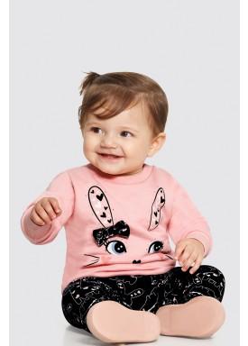 conjunto moletom bebe feminino bunny salmao alakazoo 62565 1