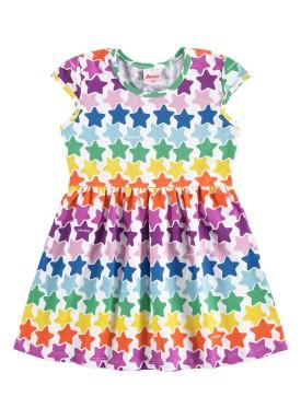 vestido infantil feminino estrelas branco alenice 44506
