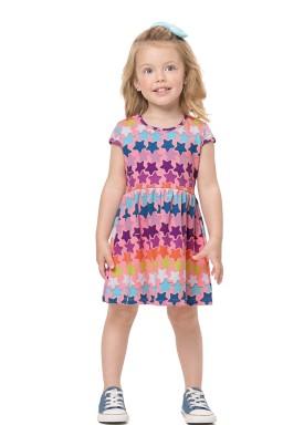 vestido infantil feminino estrelas rosa alenice 44506 1
