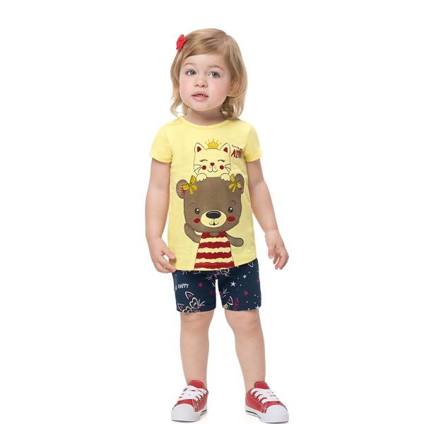 conjunto bebe infantil feminino amigos amarelo alenice 41169 1