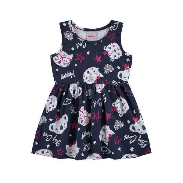 vestido bebe infantil feminino stay cool marinho alenice 41201