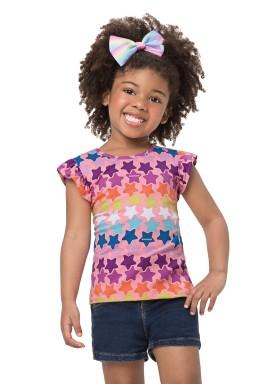 blusa infantil feminina estrelas rosa alenice 44504 1