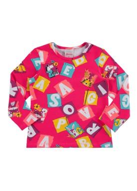 blusa manga longa bebe feminina diversao rosa alenice 41159