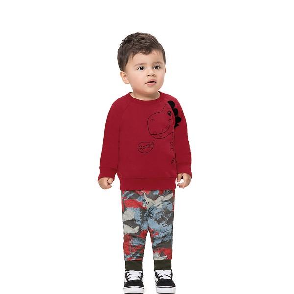 conjunto moletom bebe infantil masculino dinossauro vermelho alenice 41143 1