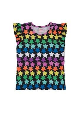 blusa infantil feminina estrelas preto alenice 44504
