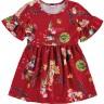 vestido infantil feminino floresta vermelho alenice 44556