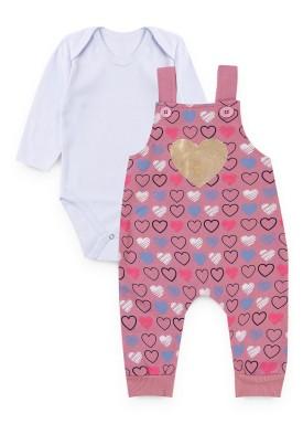 conjunto jardineira moletom bebe feminino love rosa kiiwi kids 1