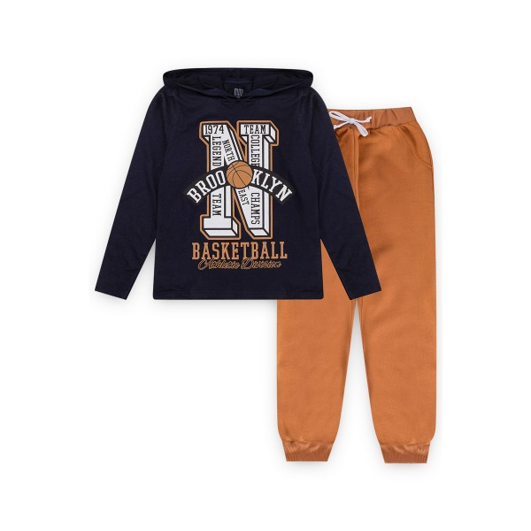 conjunto manga longa infantil masculino basketball marinho kiiwi kids 1