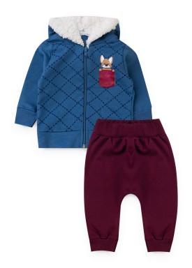 conjunto moletom bebe masculino dog azul kiiwi kids 1