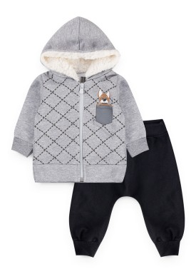 conjunto moletom bebe masculino dog mescla kiiwi kids 1