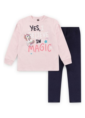conjunto moletom infantil feminino magic rosa kiiwi kids 1