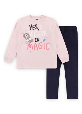 conjunto moletom infantil feminino magic rosa kiiwi kids 1