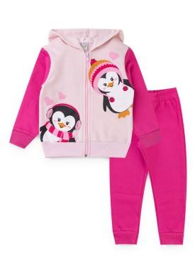 conjunto moletom infantil feminino pinguim rosa kiiwi kids 1