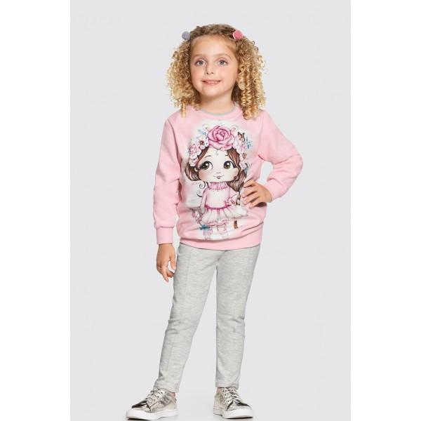 conjunto moletom infantil feminino fada rosa alakazoo 62621 4