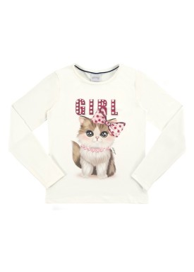blusa manga longa infantil feminina cat offwhite alakazoo 61620