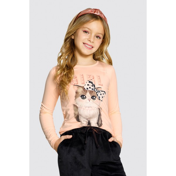 blusa manga longa infantil feminina cat salmao alakazoo 61620 1