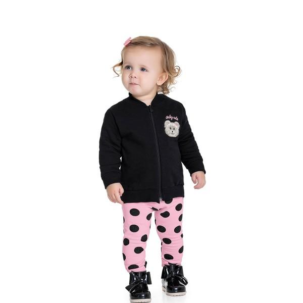 conjunto moletom bebe feminino baby cute preto fakini 1004 1