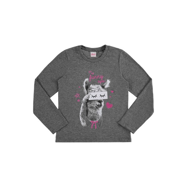 blusa manga longa infantil feminina funny mescla alenice 47170
