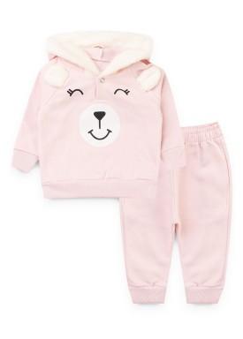 conjunto moletom bebe feminino ursinho rosa kiiwi kids 1