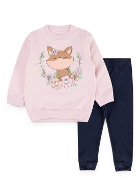 conjunto moletom infantil feminino raposa rosa kiiwi kids 1