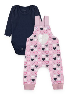 conjunto jardineira moletom bebe feminino love lilas kiiwi kids 1