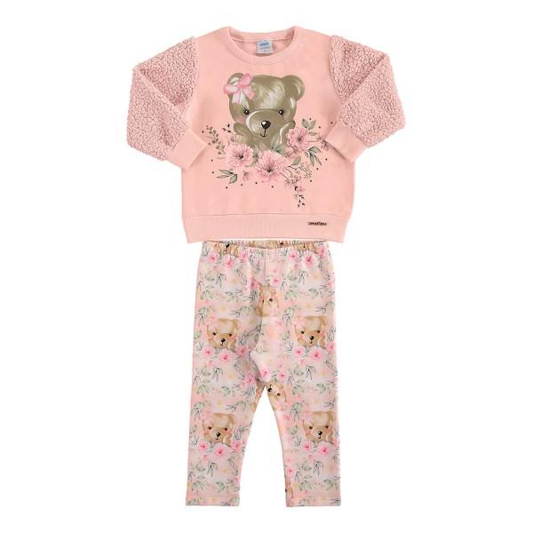 conjunto moletom pelo bebe feminino ursinho rosa marlan 20410