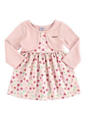 vestido manga longa bebe feminino floral rosa marlan 20422