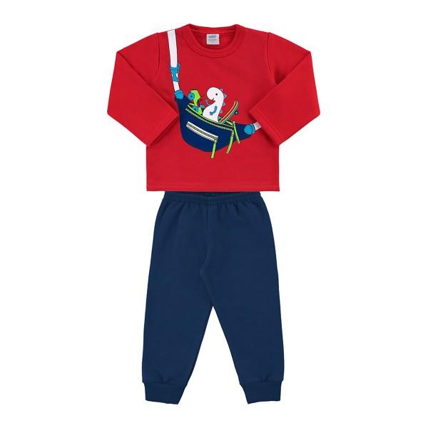 conjunto moletom bebe masculino pochete vermelho marlan 20454