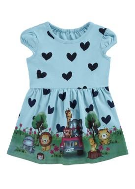 vestido bebe infantil feminino safari azul alenice 41174