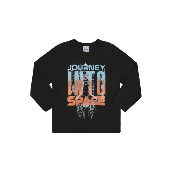 camiseta manga longa infantil masculina space preto alenice 44467