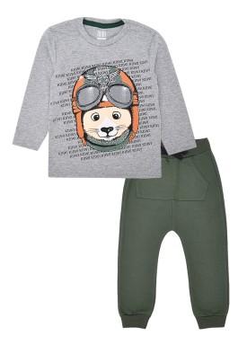 conjunto manga longa infantil masculino aviador mescla kiiwi kids 1