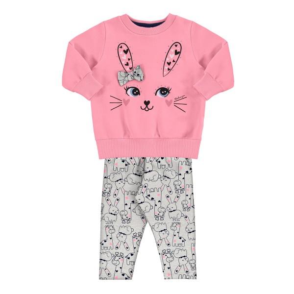 conjunto moletom bebe feminino bunny rosa alakazoo 62565 1