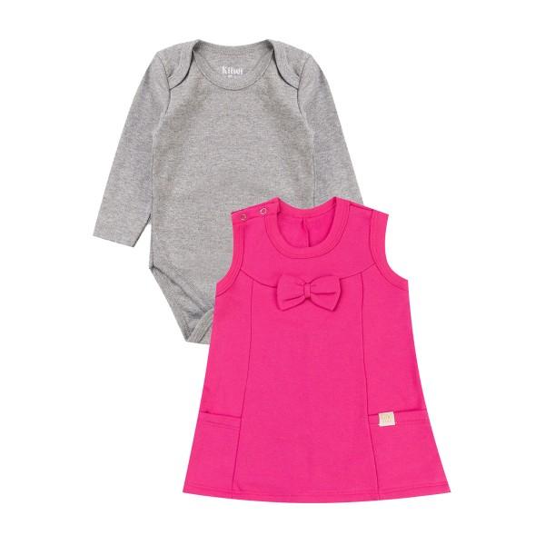 conjunto vestido moletom bebe feminino laco pink kiiwi kids 1