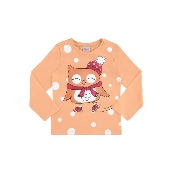 blusa manga longa infantil feminina corujinha laranja alenice 44503