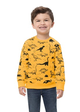 blusa moletom infantil masculino dinossauros amarelo alenice 44468 1