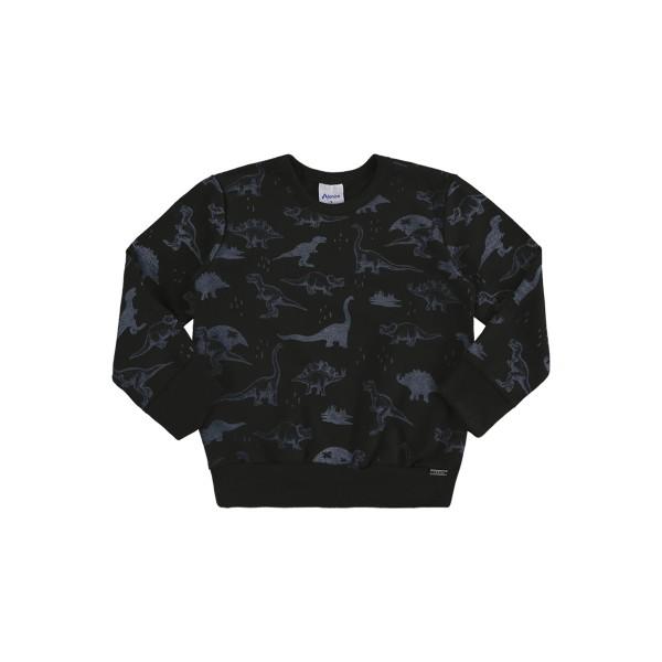 blusa moletom infantil masculino dinossauros preto alenice 44468