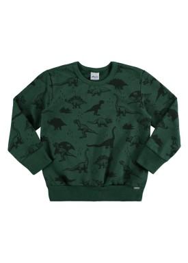 blusa moletom infantil masculino dinossauros verde alenice 44468
