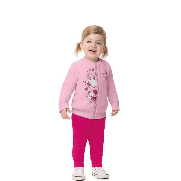 conjunto moletom bebe feminino amiguinhos rosa alenice 41167 1