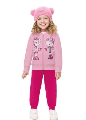 conjunto moletom infantil feminino gatinhas rosa alenice 44512 1