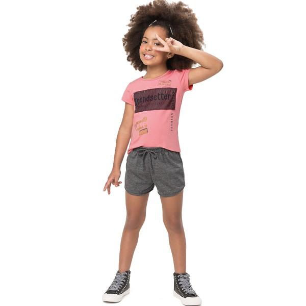 conjunto manga curta infantil feminino trendsetter rosa alenice 47178 1