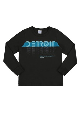camiseta manga longa infantil masculina detroit preto alenice 47149