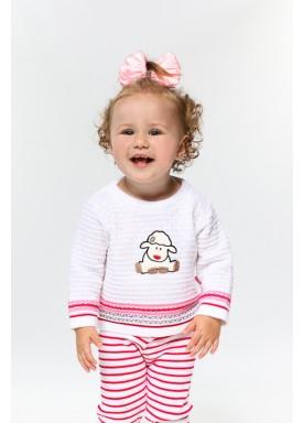 sueter trico bebe feminino ovelha branco remyro 1015 1