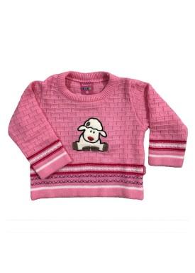 sueter trico bebe feminino ovelha rosa remyro 1015
