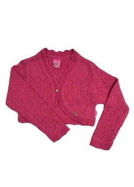bolero trico bebe feminino pink remyro 1226