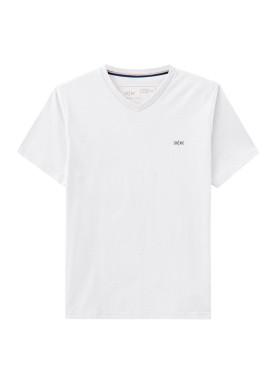 camiseta gola v meia malha basica juvenil masculina branco hangar33 73607