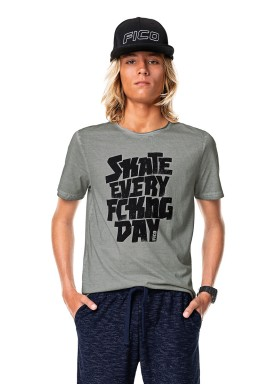 camiseta meia malha juvenil skate cinza fico 68430 1