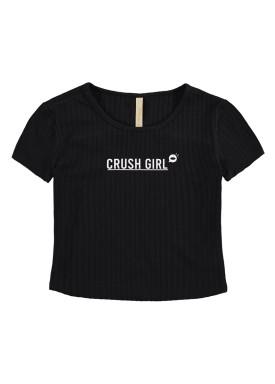 blusa malha canelada juvenil feminina crush girl preto lunender hits 46757